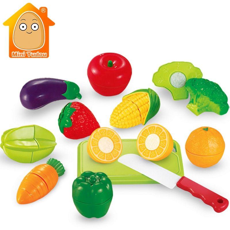 Minitudou toys per i bambini 12 pz frutta & vegdtable pretend play set cibo taglio bambini cucina toys