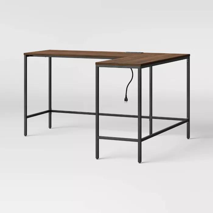 Loring Wood L Shaped Writing Desk Project 62 In 2020 L Shaped Desk Walnut Desks Desk In Living Room