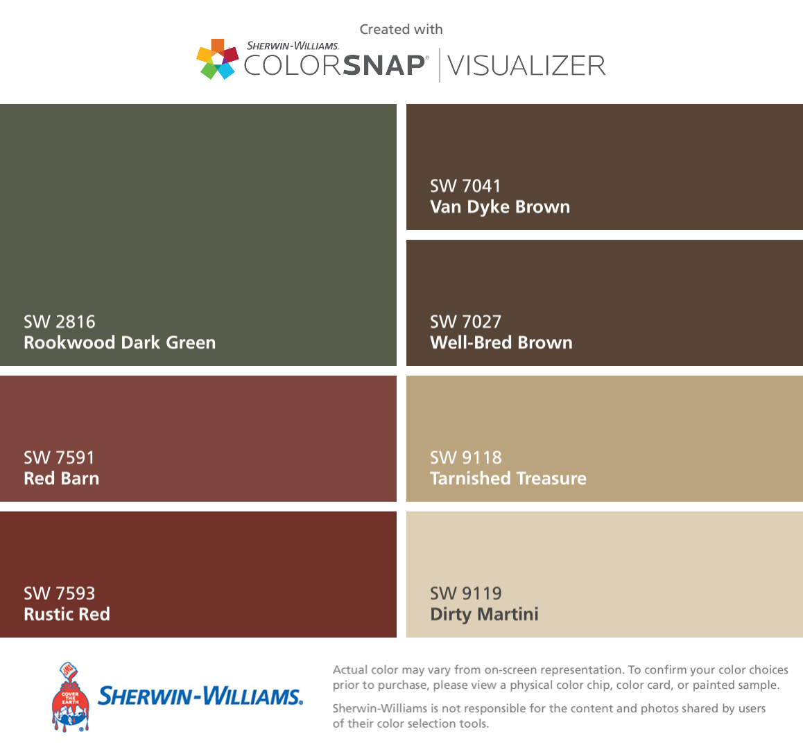 I Found These Colors With ColorSnapR Visualizer For IPhone By Sherwin Williams Rookwood Dark Green SW 2816 Red Barn 7591 Rustic 7593