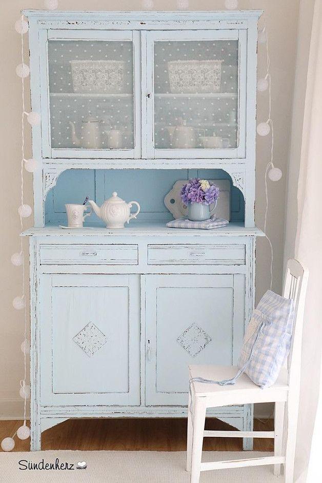 k chenbuffet in himmelblau shabby landhaus stil vintage kitchen sideboard home. Black Bedroom Furniture Sets. Home Design Ideas