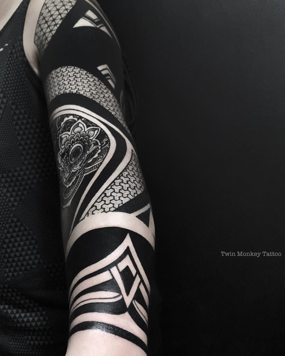 Solid black geometric tattoo the image for Solid black tattoo cover up