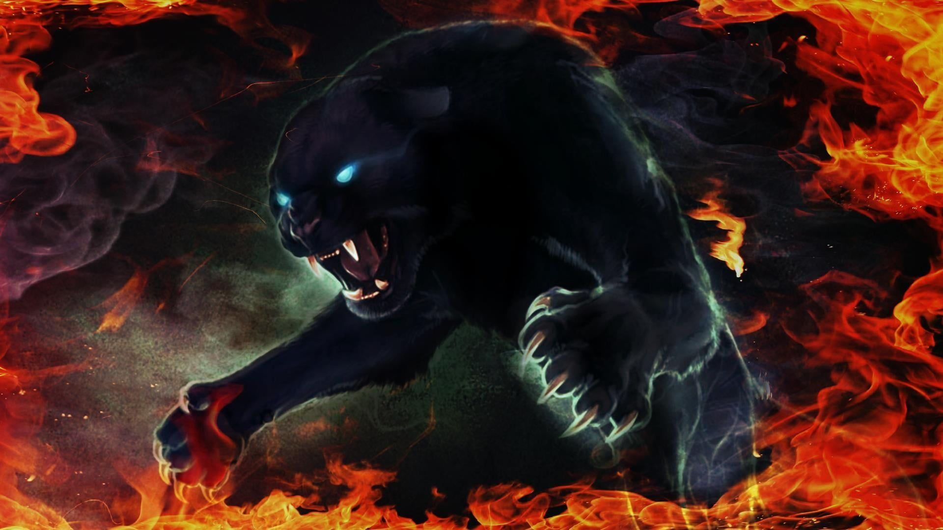 Panther Black Panther Blue Eyes Fire Flame Claw Digital Art 1080p Wallpaper Hdwallpaper Desktop Panther Pictures Black Panther Images Black Panther Cat