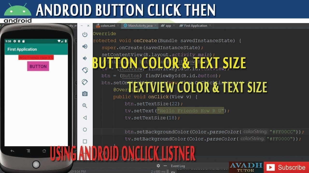 Button Click Then Change Text Size And Color Using Android Studio And Android Tutorials Change Text Button Click
