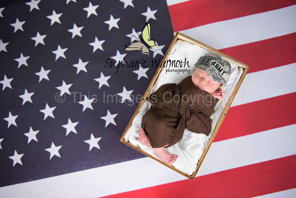 Military army american flag newborn photography atlanta photographer