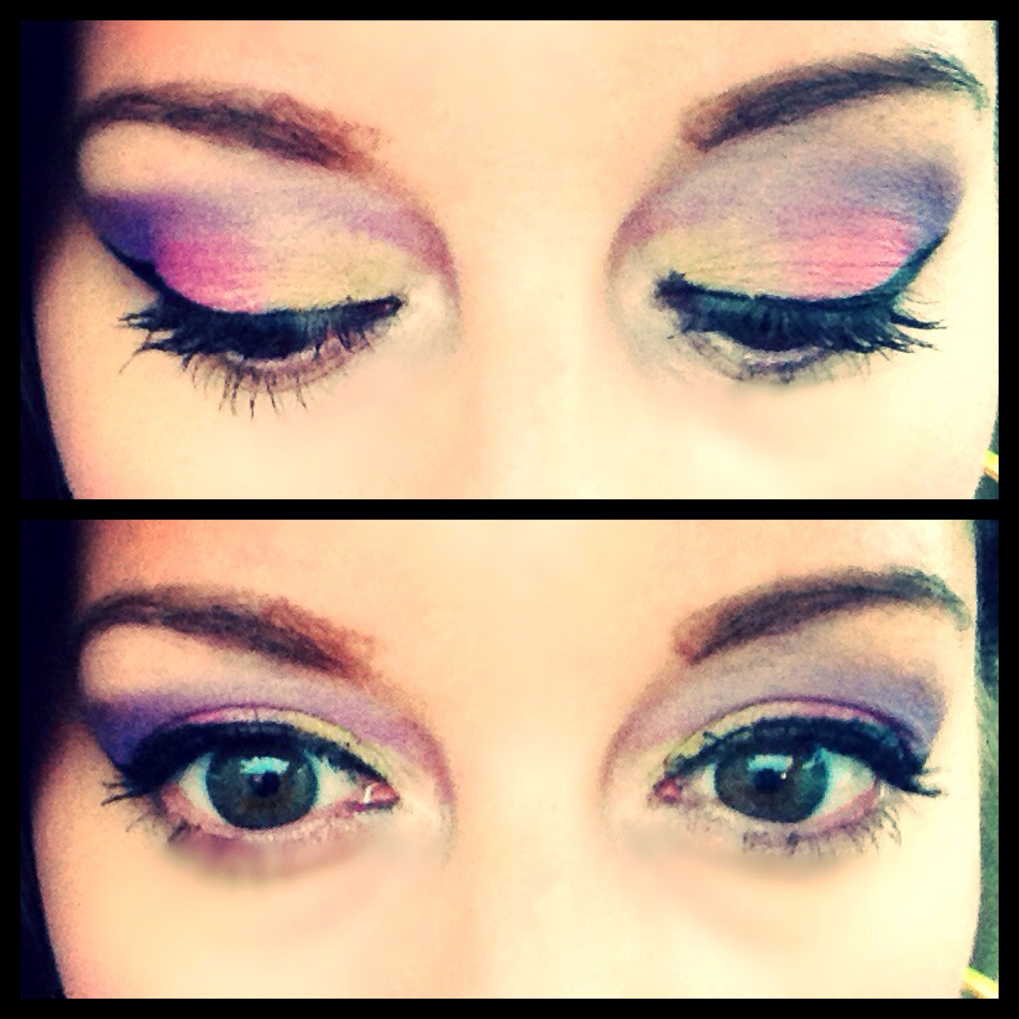 Bright eye makeup. Products used were sigma cream couture palette, bobby brown paint pot, and Stila stay all day liquid liner pen.