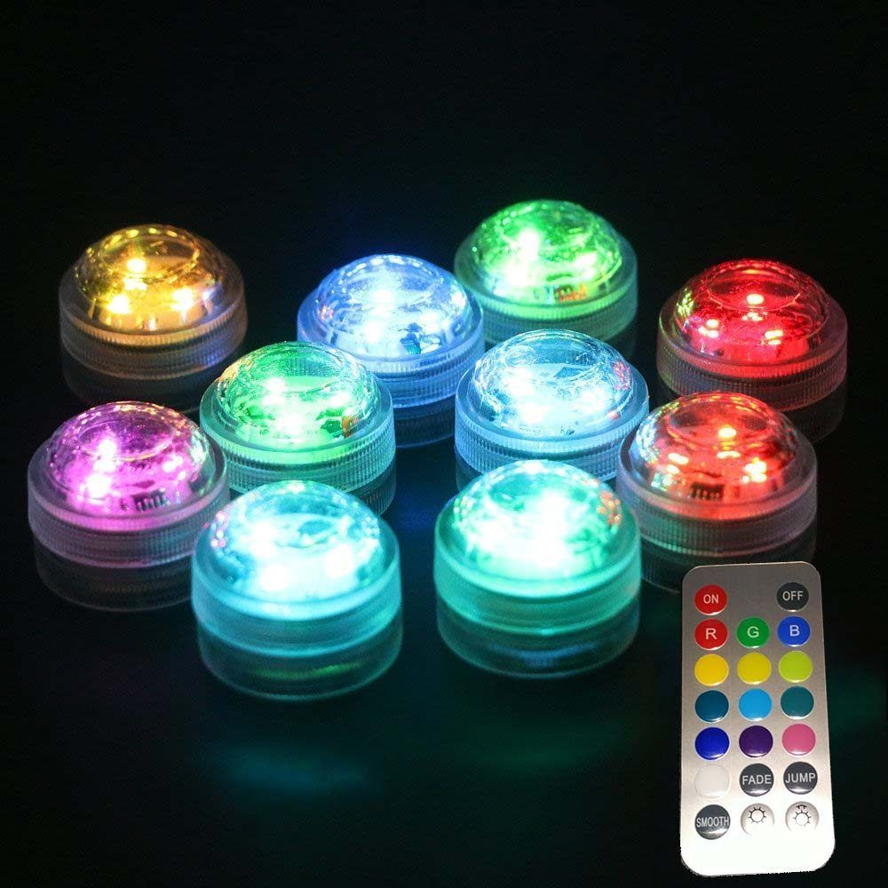 12 Pcs Lot Popular Waterproof Small Battery Operated Single Mini Led Submersible Lights For Crystal Va Submersible Led Lights Led Tea Lights Submersible Lights