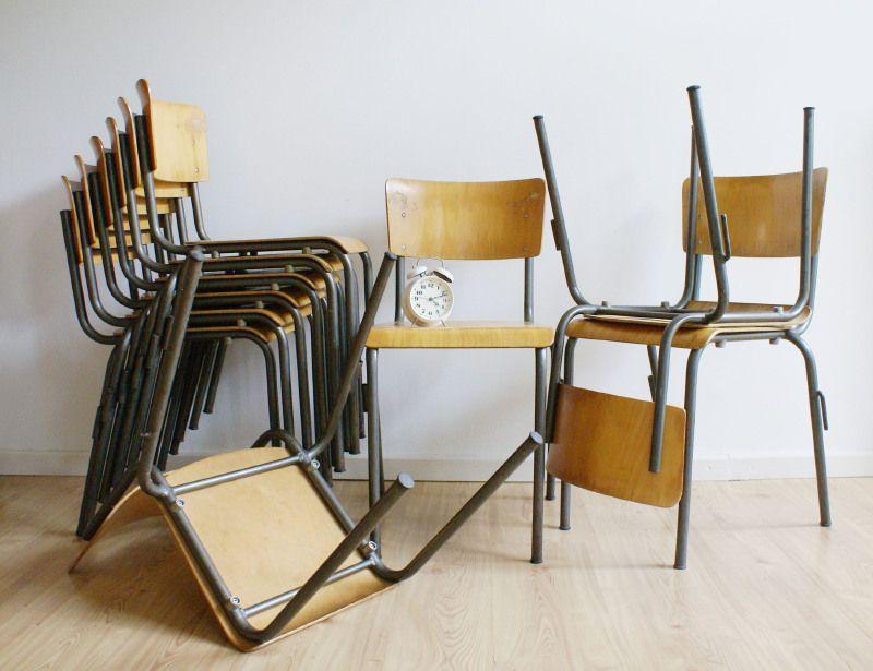 Vintage schoolstoel industriële hout metalen stoelen 10x toffe