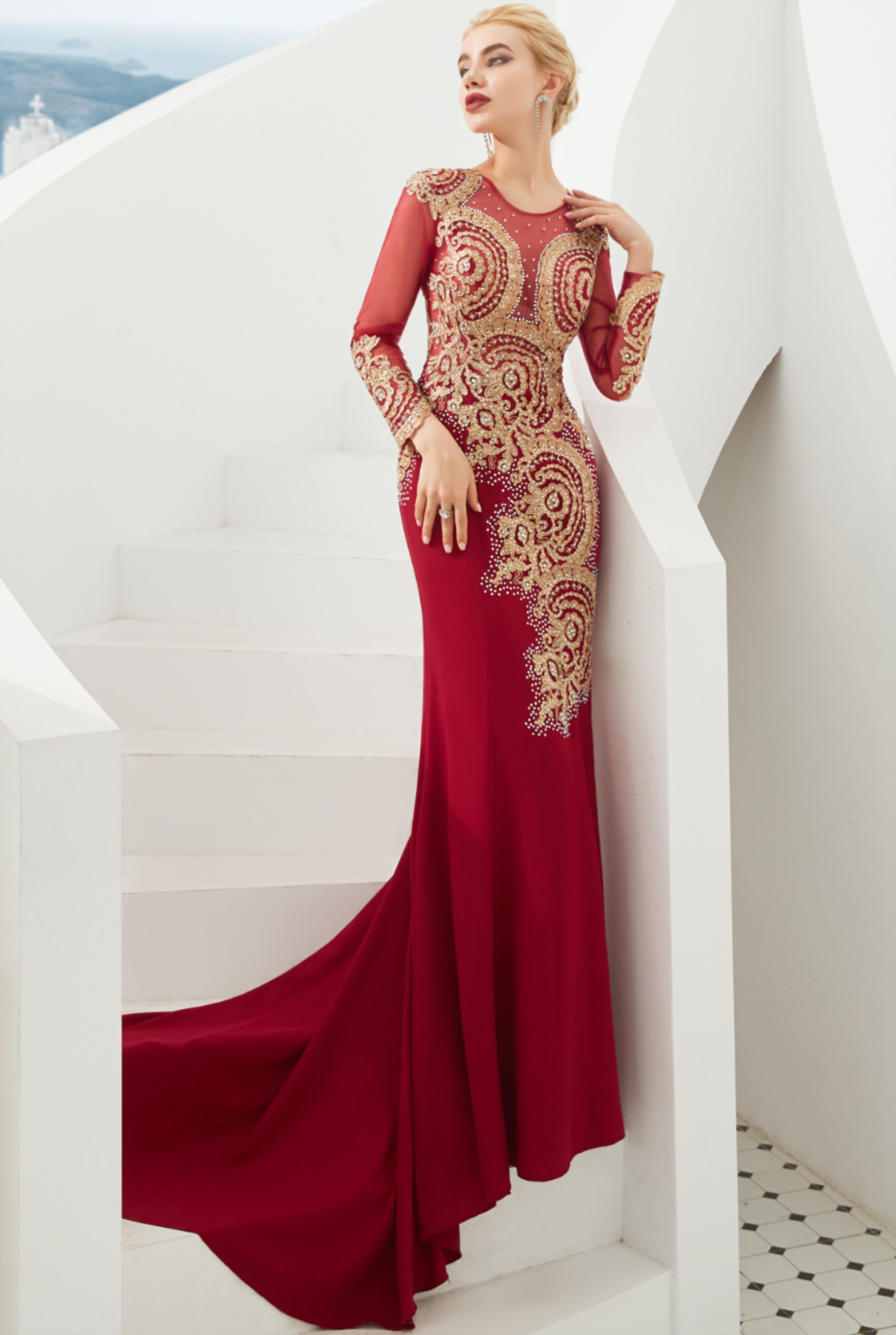 Delicate illusion long sleeves red and gold mermaid long