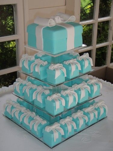 1cbaa152bd99 Tiffany blue box cake with mini personal cakes..bridal shower by gracie