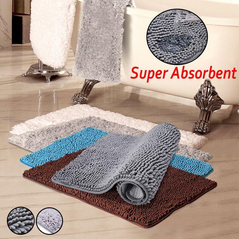 2x Bath Rug Mat Non Slip Ultra Absorbent Shower Door Floor Carpet Rugs Bathroom Ebay Bathroom Floor Mat Luxury Bath Rugs Washable Bathroom Rugs