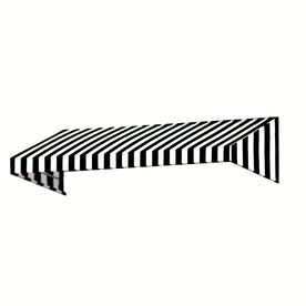 Awntech�4-ft 4-1/2-in Wide x 3-ft Projection Black/White Striped Slope Window/Door Awning