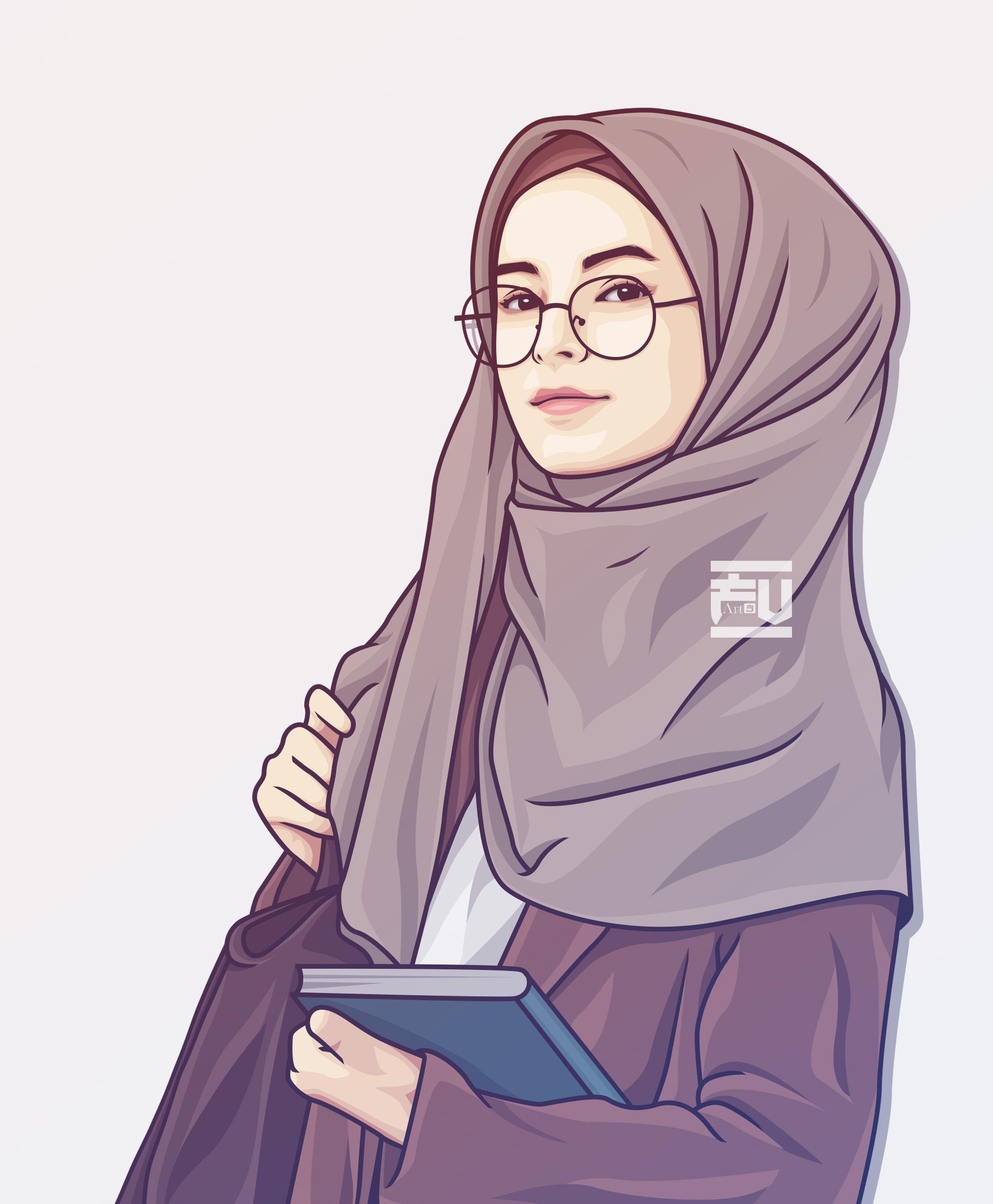 hijab vector   Hijab cartoon, Islamic cartoon, Anime muslim