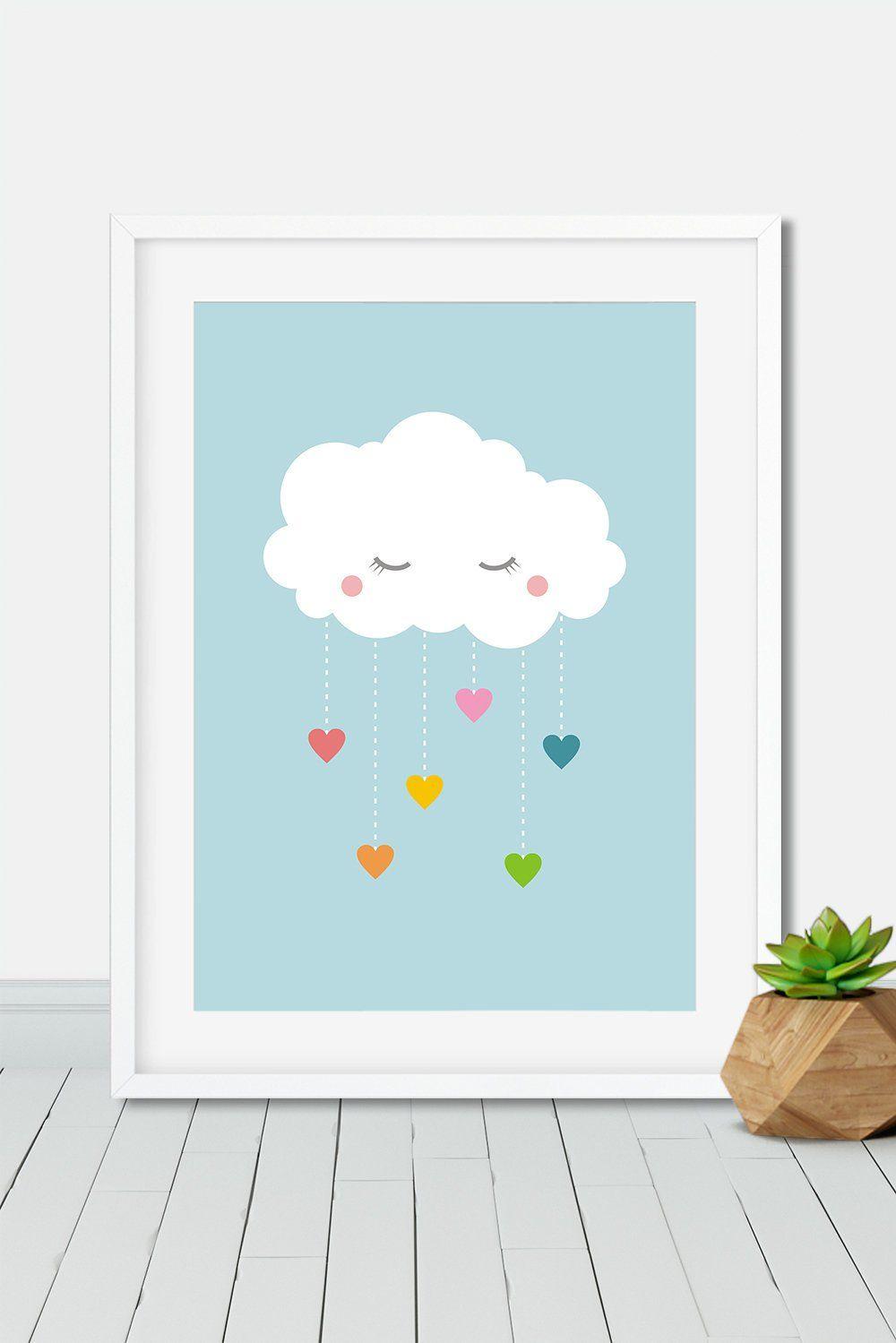 Affiche Arc En Ciel Nuage Et Coeurs Décoration Enfant Pastel