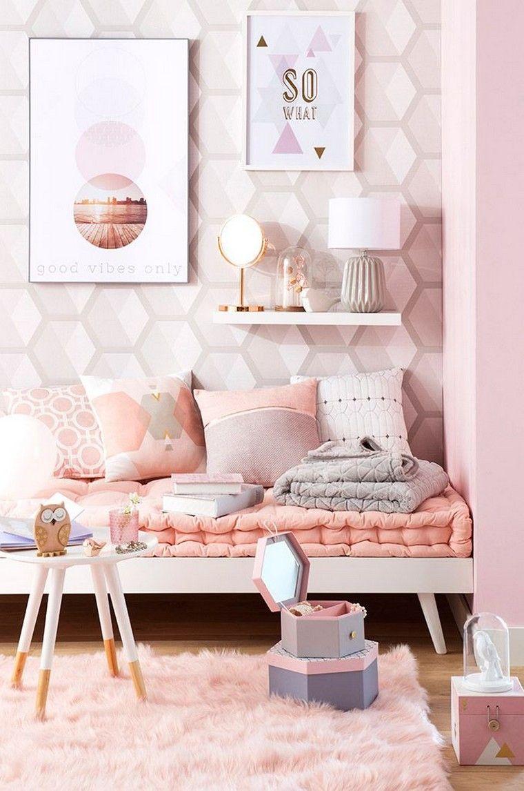 chambre fille ado rose déco mur papier peint  Pastel room decor