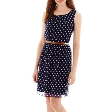 b6d3b4d7ba08 Alyx® Sleeveless Tuck-Front Dot Print Belted Chiffon Dress found at  @JCPenney