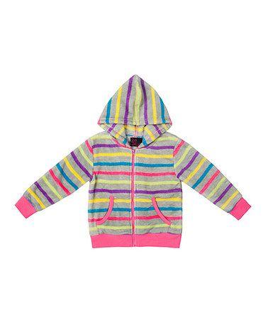 Look at this #zulilyfind! Pink & Gray Stripe Zip-Up Hoodie - Toddler & Girls #zulilyfinds