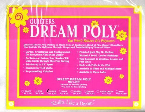 Batting Quilters Natural Dream Cotton Blend Mid Loft 8020 CottonPoly Medium Weight Twin Size Natural Color Quilt Stuffing Quilting