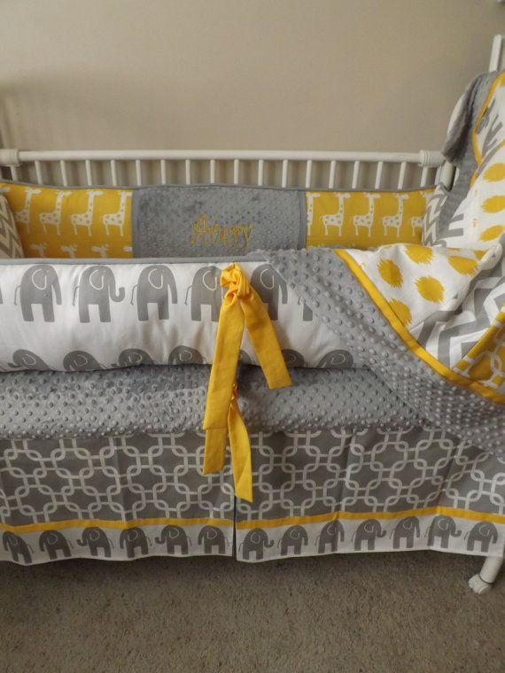 Gray And Yellow Elephant Baby Bedding, Yellow Gray Crib Bedding
