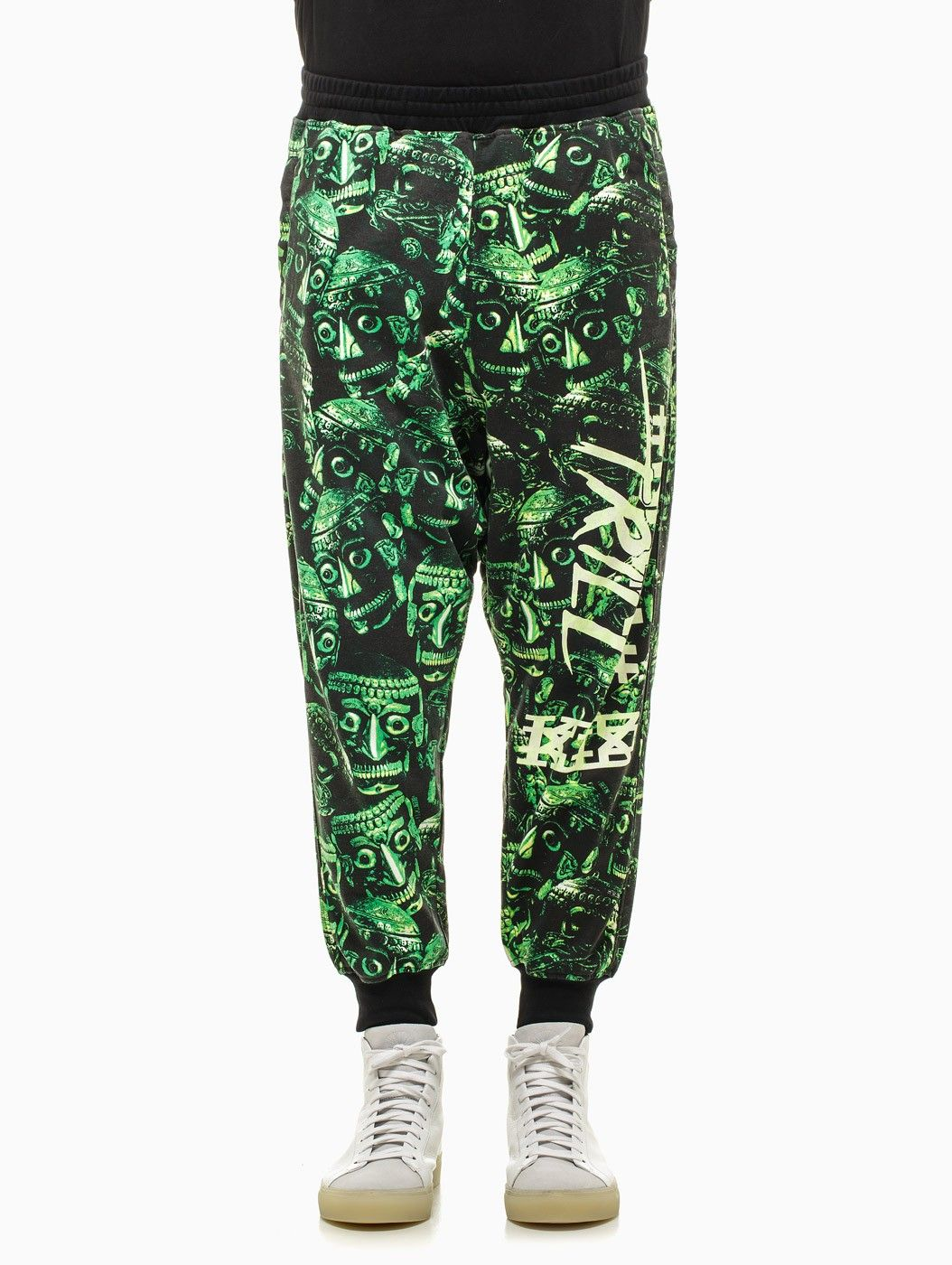 Skull printed harem trousers from the F/W2014-15 KTZ x Been Trill capsule collection in green