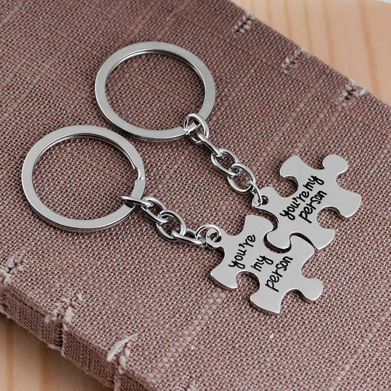 2 PCS You are My Person Puzzle Keychain Keyring Jewelry Set Valentines Day Best Friend