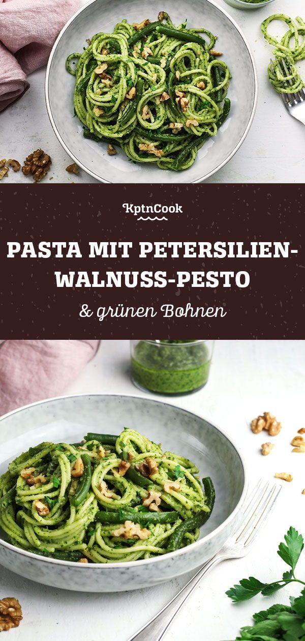 Schnelle  Gesunde Pasta mit PetersilienWalnussPesto  grünen Bohnen rezepte