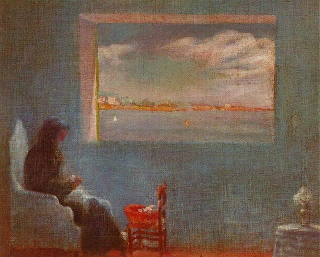 Portrait of Grandmother Ana Sewing, circa 1921 by Salvador Dali (Spanish 1904-1989)