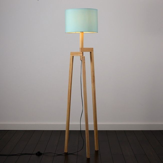 Scandinavian Style Karlov Wooden Tripod Floor Lamp With Coloured Shade Wooden Tripod Floor Lamp Floor Lamp Design Tripod Floor Lamps