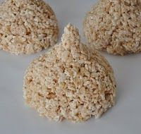 A rice krispie treat in the shape of a hershey kiss!  Use a funnel to help mold the rice krispie, then wrap in foil!  Cute idea to give someone for Valentine's day!