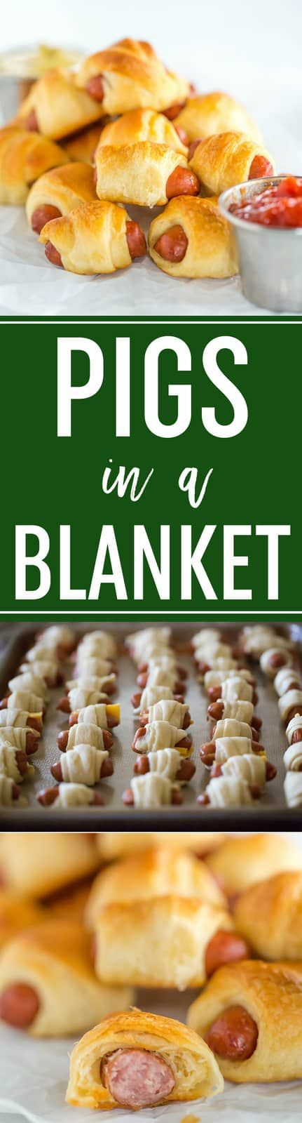Pigs in a Blanket  Easy recipe with only two ingredients three if you want cheese Simply wrap mini hot dogs in crescent rolls and bake Perfect for kids parties and the Su...