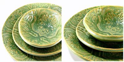 Vintage Cottage Collection Handmade Dinnerware by Melinda Marie Alexander from Raven Hill Pottery: Dinnerware