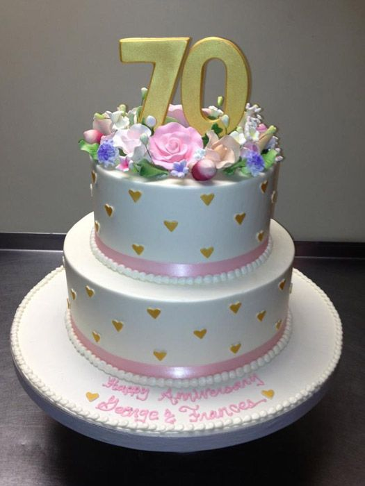 Two Tier 70th Birthday Cake