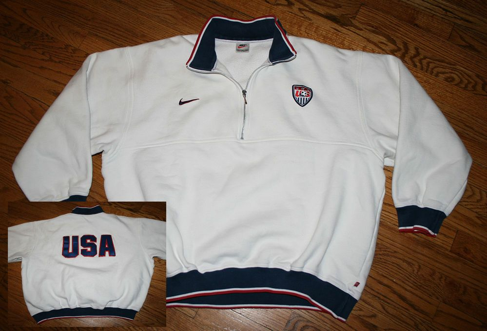 NIKE TEAM USA SOCCER Half-zip Pullover white Sweatshirt-Men s XL-SEWN-World  Cup  Nike  USA 6693b45a3