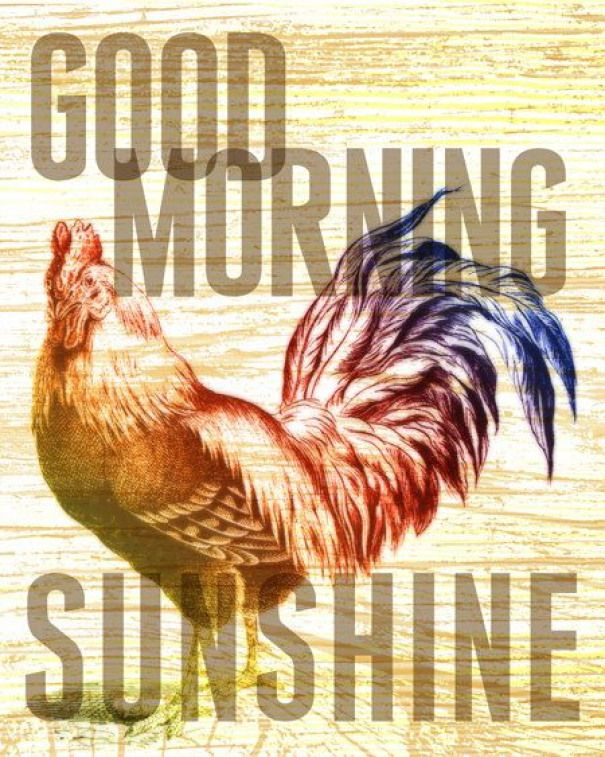 8x10 art print  Good Morning Sunshine  Rooster  Typography Poster Print with Wood Grain Texture