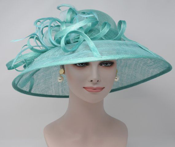 f1e2db8e27797 CM062 Turquoise Kentucky Derby Hat