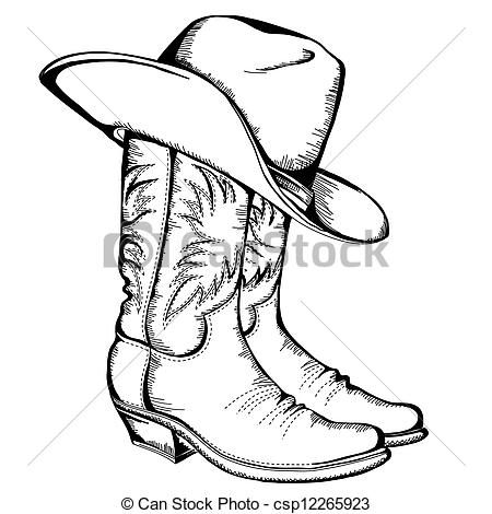 33f5470253246 Vector - Cowboy boots and hat.Vector graphic illustration isolated - stock  illustration