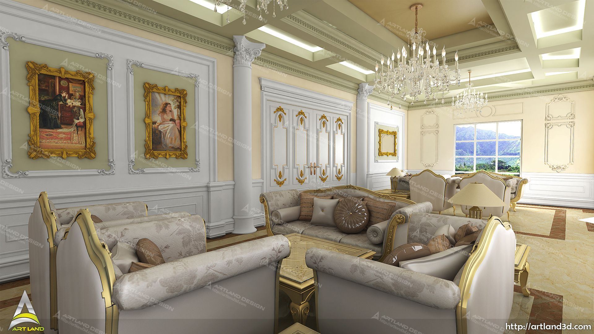 Classic Living Room Design Luxurious Interiors 3d