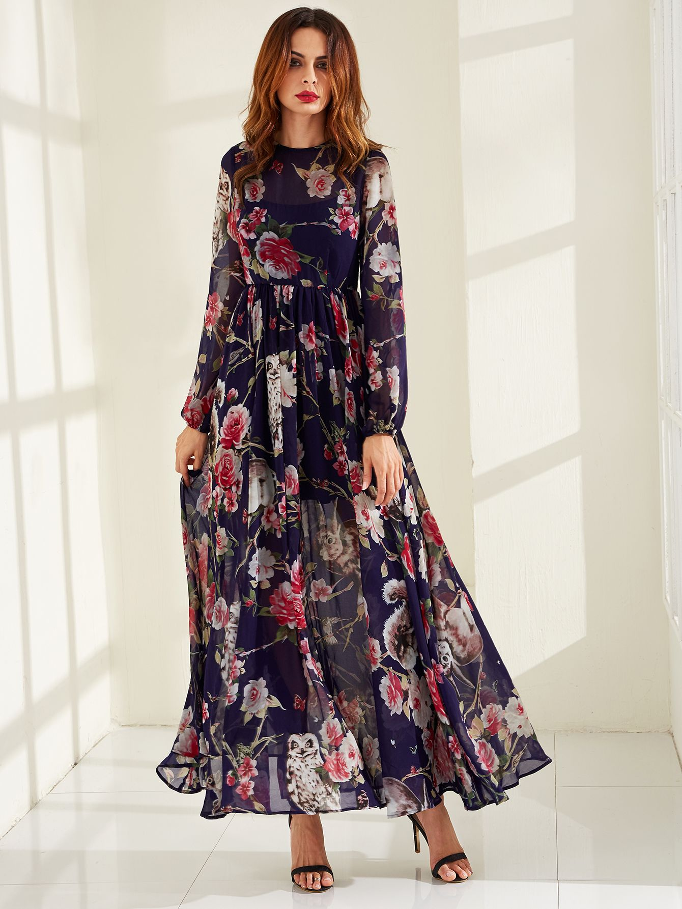edb57b539e Shop Calico Print Semi Sheer Smock Maxi Dress online. SheIn offers Calico  Print Semi Sheer