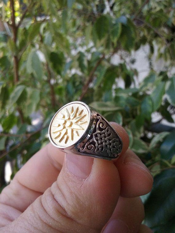 Varouxi Macedonia Vergina Sun plata anillo hombres por Varouxi