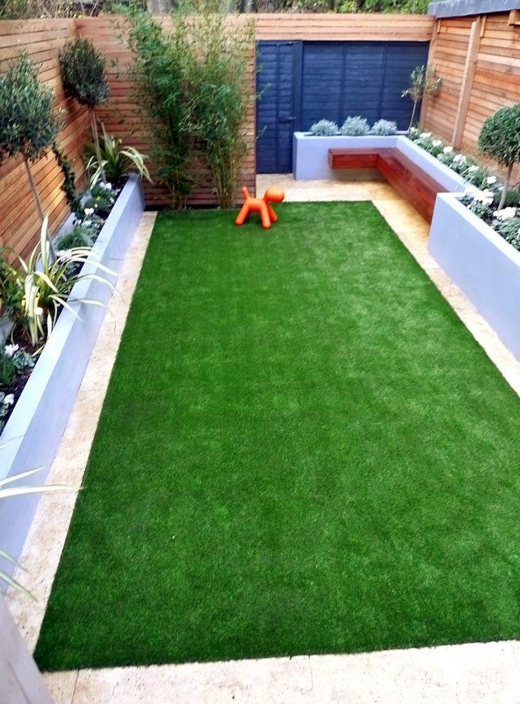 Modern Garden Design Artificial Grass Raised Beds Cedar Screen Floating Bench London Designer Cheam In 2020 Small Garden Design Modern Garden Design Modern Garden