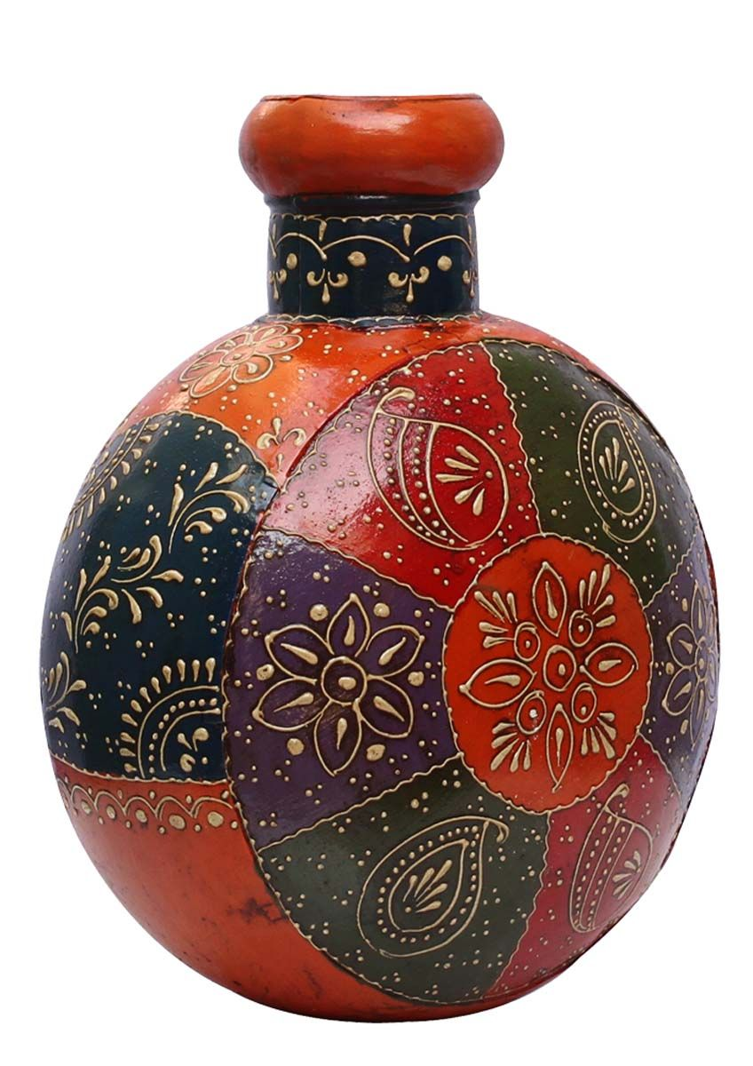 Bulk Wholesale Handmade 12 Iron Round Flower Pot Vase In Orange Decorated With More Bright Colors In Old World Cone Painting A Flower Vases Vase Decor Gifts