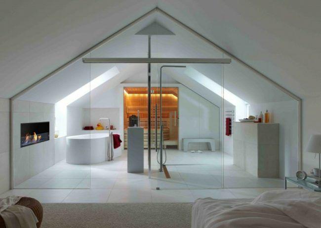 Badezimmer Mit Dachschräge Glaswand Sauna Badewanne Kamin
