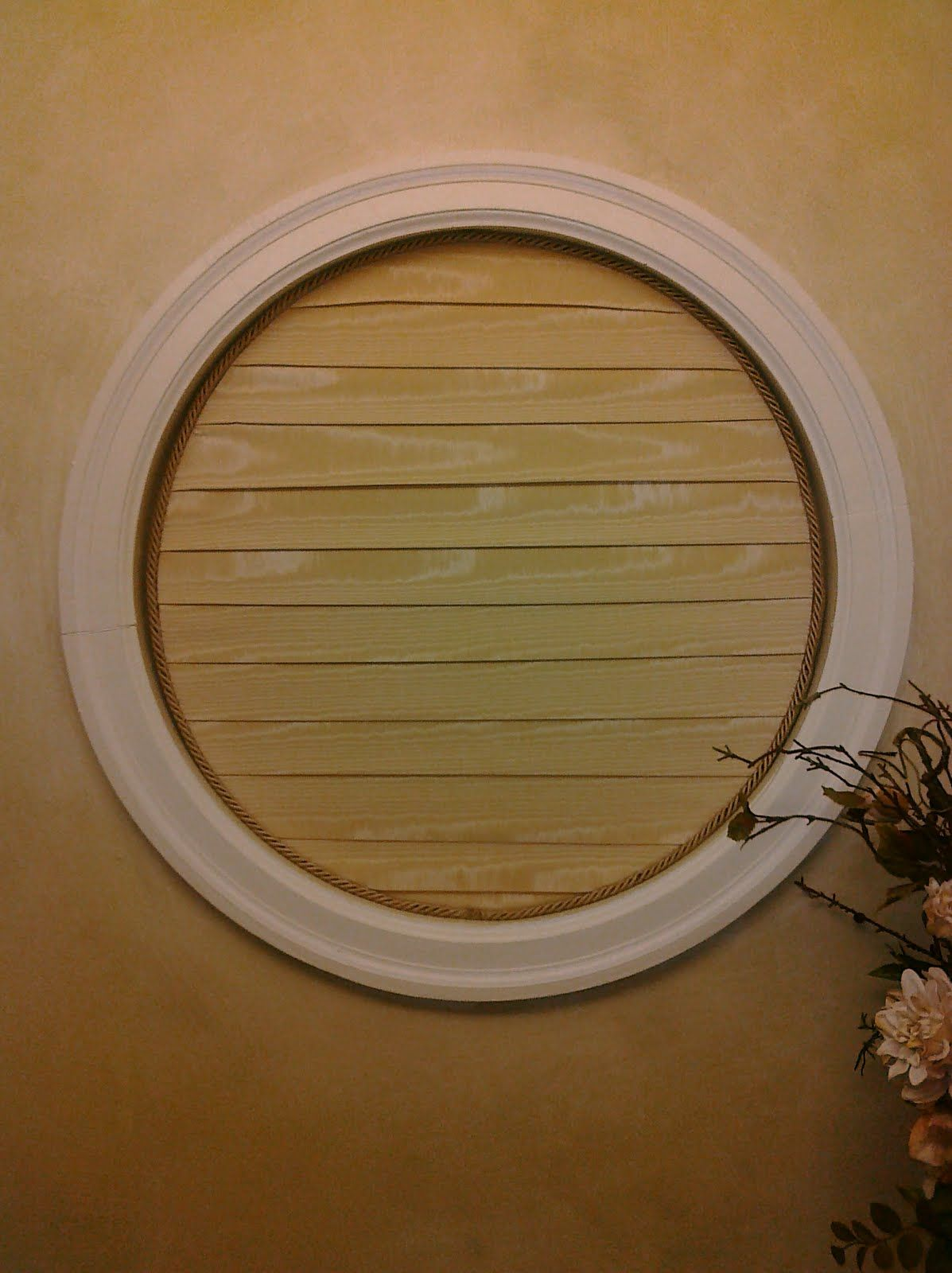 As I Started Pondering How I Was Going To Make Over Our Entry Powder Room One Of The Biggest Dilemmas Was Dete Round Window Window Coverings Diy Window Blinds