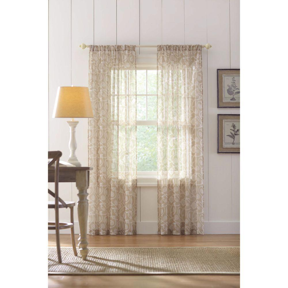 Home Decorators Collection Sand Rod Pocket Printed Sheer Curtain 52 In W X 84 L