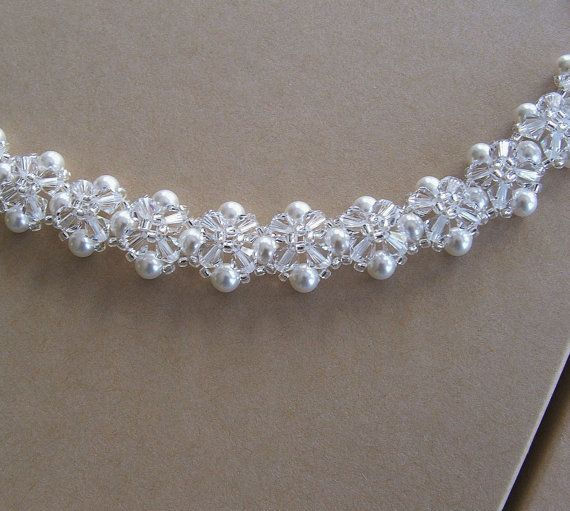 Crystal Crowns Clear Crystal and White Pearls by BridalDiamantes