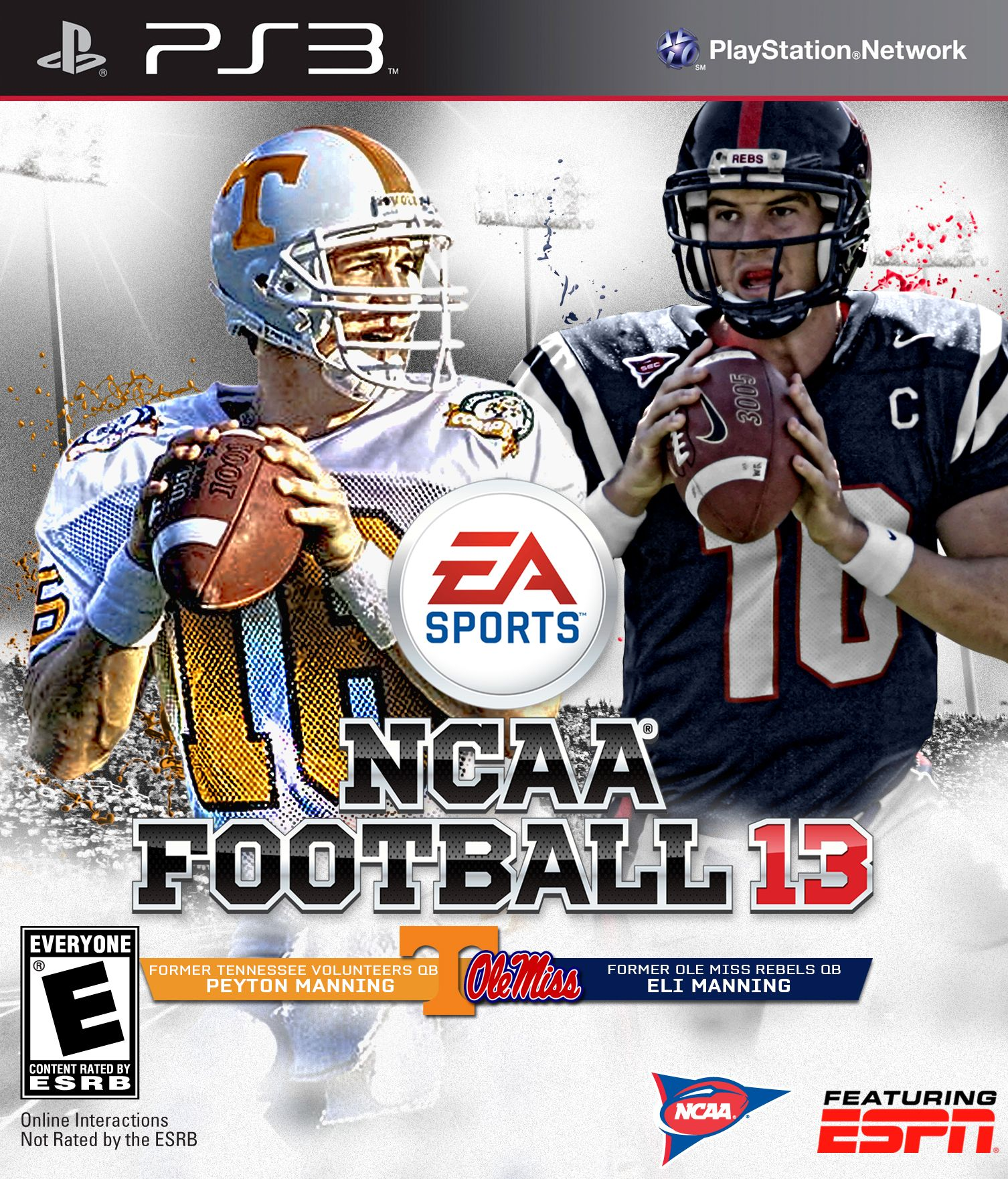 Peyton and Eli Manning Tennessee Voltuneers and Ole Miss Rebels