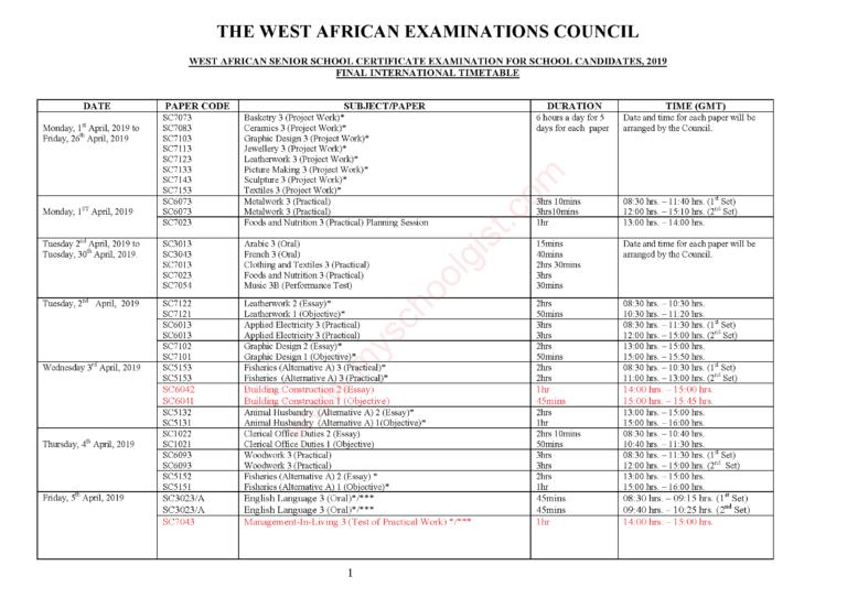 WAEC Timetable 2019/2020 Out: Check & Download PDF WAEC 2019/2020