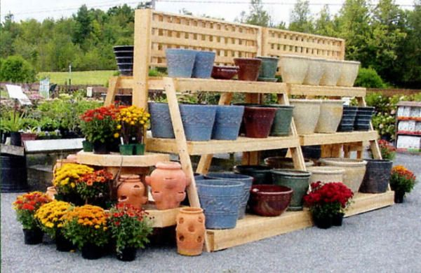 Three Tier Garden Center Pottery Display Wood Display Products