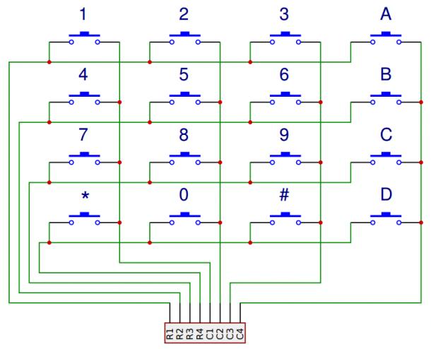 Arduino Keypad Tutorial 4x4 Keypad Schematic Arduino Arduino Circuit Keyboard Tutorial