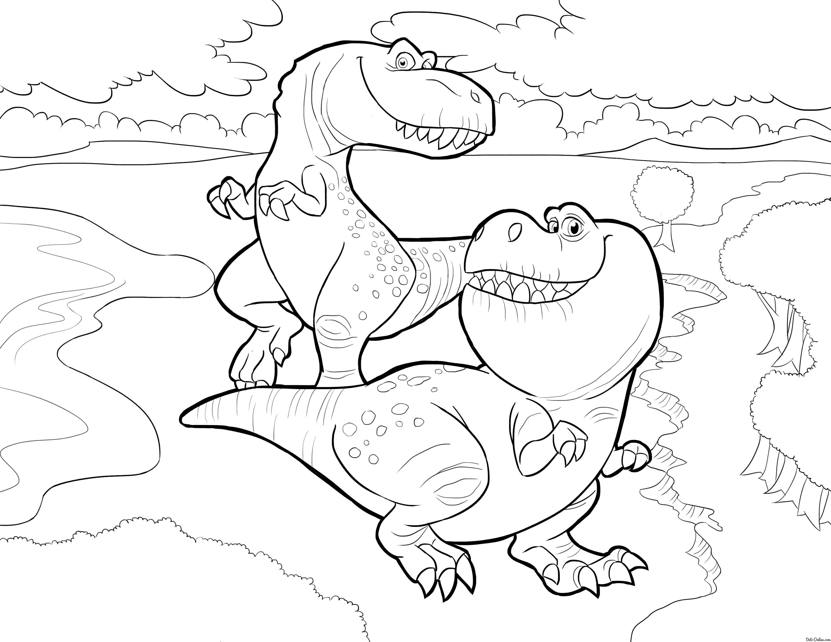 Раскраска Динозавры | Раскраски с животными, Раскраски ...