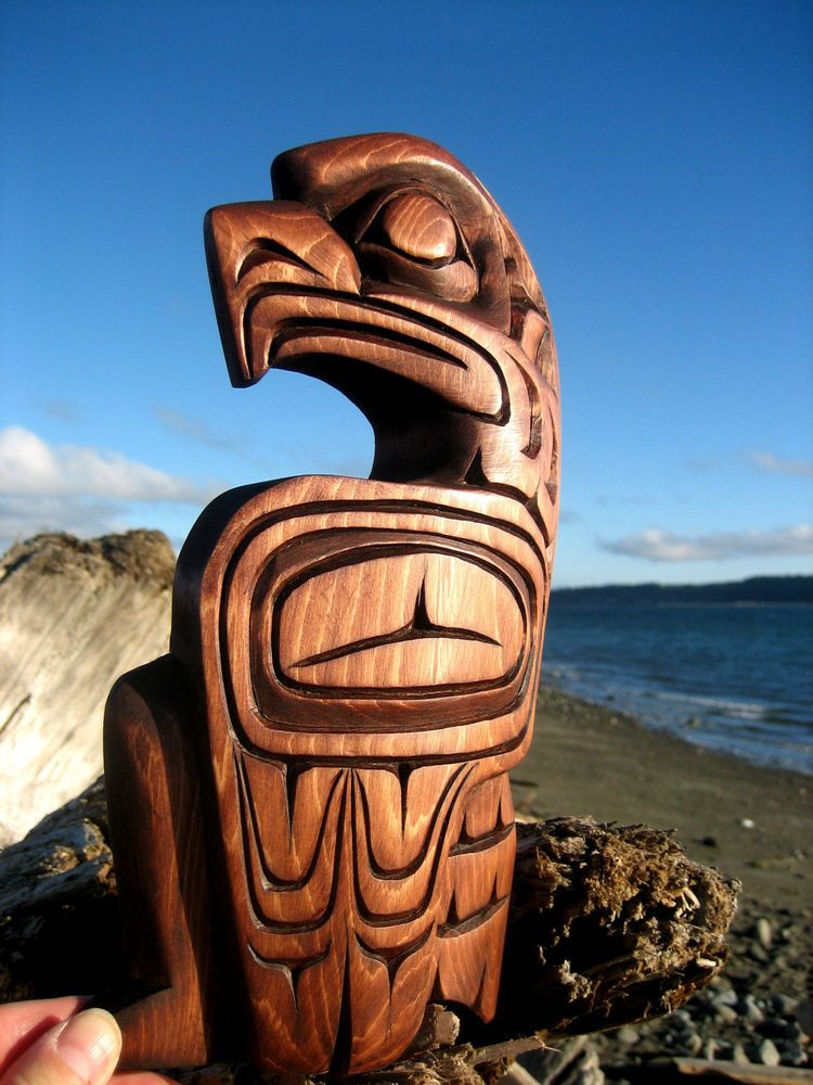 Northwest Coast First Nations Native Art Carving EAGLE Signed Authentic